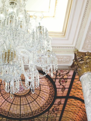 The Plaza Hotel, New York: The chandelier in The Palm Court.