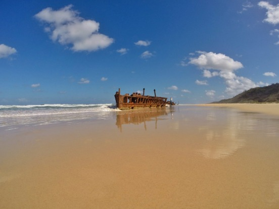 SS Maheno, shipwrecked on 75 Mile Beach during World War II after being used as a hospital ship.