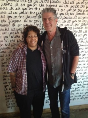 Natalie Young, chef at Eat restaurant, with Anthony Bourdain.