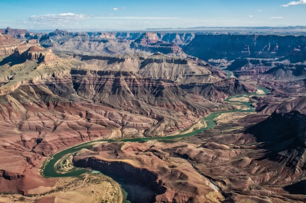 A view of the Grand Canyon from the chopper.