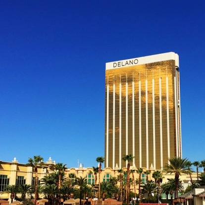 The Delano's stark golden stature is hard to miss on The Strip.