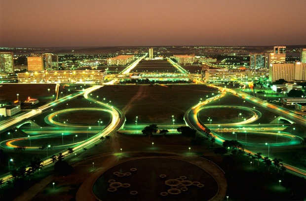 Aerial view after sunset over Brasilia.