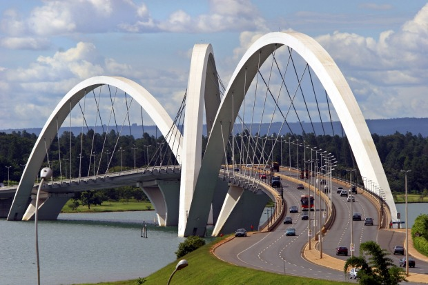 The Juscelino Kubitschek bridge designed by architect Alexandre Chan stretches over the over the Paranoa Lake in Brasilia.