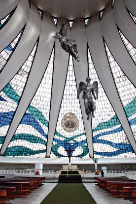 Brasilia's Cathedral interior. The Cathedral, along with many major government buildings, was designed by Brazilian ...