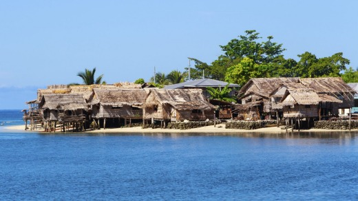 Traditional thatched houses in Auki.