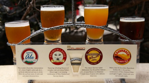The Beer flight sampler from Infusion Bar and Brewery, Rydges.