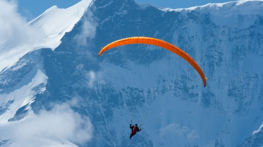 Paragliding over Grindelwald in Switzerland.