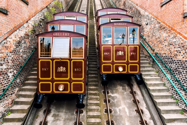 CASTLE HILL FUNICULAR, BUDAPEST, HUNGARY: The trip from Adam Clark Square at the Buda end of the Chain Bridge up Castle ...