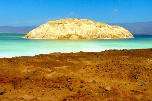 The lowest point in Africa: Lac Assal in Djibouti, Africa.