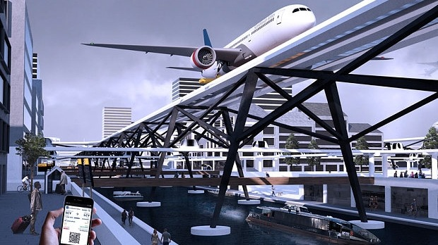 Alex Sutton's design for an airport above the streets and canals of Stockholm.