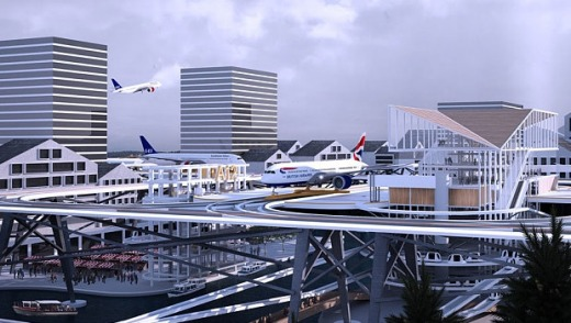 The concept integrates airports into cities as part of the infrastructure.