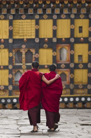 Young monks in the courtyard of their monastry between prayer sessions and classes.