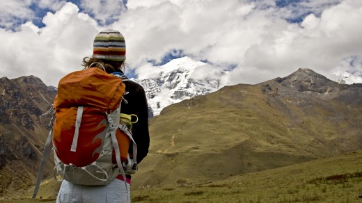 Trekking through the Himalayas in Bhutan.