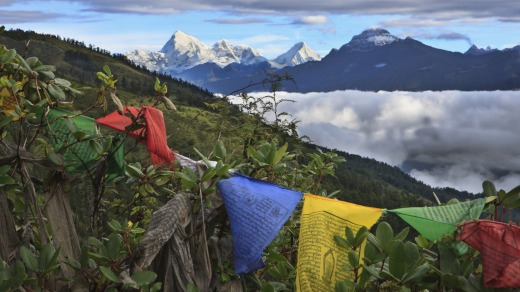 Mount Jumolhari at 7300 metres,  seen through prayer flags from Chele La Pass.