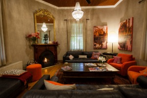 Guests can gather in the sitting room for tapas and a glass of wine.