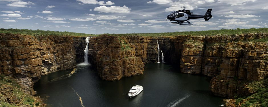 True North and helicopter at King George Falls, The Kimberley.
