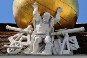 Atlas carries a golden globe on his shoulders on the roof of the Austrian National Library in Vienna.