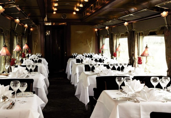 The dining car aboard the Eastern & Oriental Express.