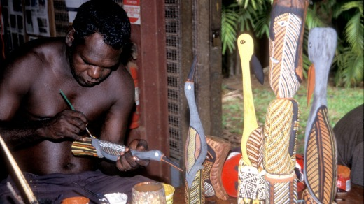 Bird carving on the Tiwi Islands.
