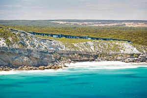 The Southern Ocean Lodge is perched on the cliff above Hanson Bay on Kangaroo Island.