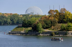 On the St Lawrence River islands with the Biosphere in the distance.