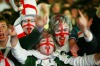Crowds cheer on England during their Rugby World Cup final against South Africa, 02 Arena in London, England.