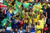 Brazilian fans cheer during the Men's Football match between Brazil and New Zealand at the London Olympic Games at St ...