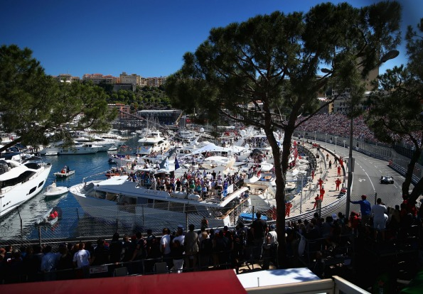 View of the harbour area during the Monaco Formula One Grand Prix.