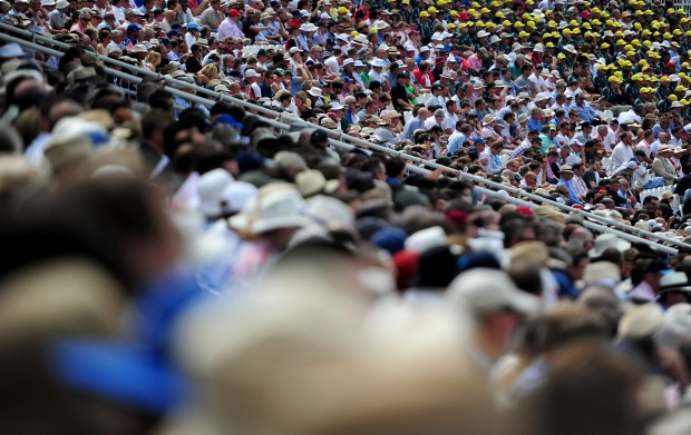 The stands fill up as spectators take their seats during an Ashes Test match between England and Australia at Lord's.