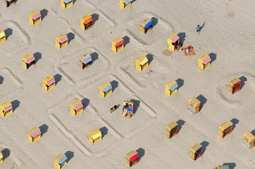 Deck chairs at the beach, at Lubeck, Germany.