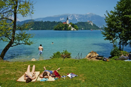 Lake Bled and the Julian Alps, Slovenia.
