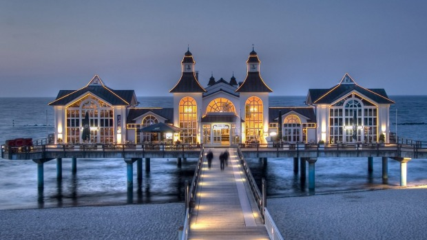 The pier of Sellin on the island of Rugen in Germany. Bondi it ain't. Germans may flock to the Baltic coastline every ...