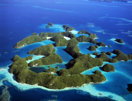 The Rock Islands of Palau. An archipelago of some 500 islands bunched in the Philippine Sea, 2200 kilometres north of ...