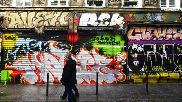 The Belleville quarter in Paris, where Denoyez Street is dedicated to street art. Formerly a hilltop village, surrounded ...