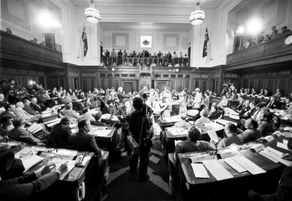 Interior of the chamber during the opening day of the National Economic Summit in Canberra on 11 April 1983 at Old ...