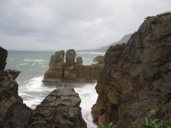 The Pancake Rocks in Greymouth, New Zealand. These limestone rocks are a popular tourist attraction along the beautiful ...