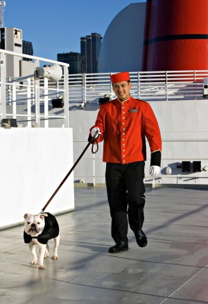 A steward walks a dog on board the Queen Mary 2.