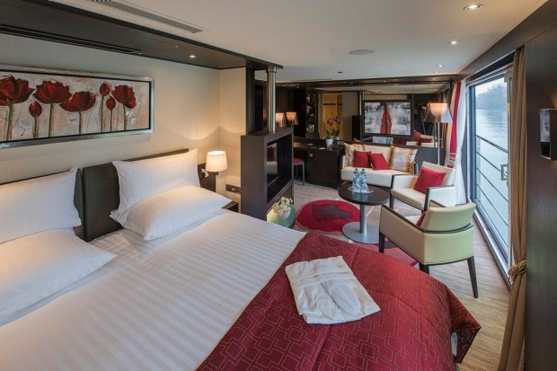 Avalon Waterways, Royal Suite Tapestry II: King-size beds can be converted to two twins and there's plenty of room for a ...