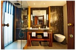 <b>RIVER CRUISING'S BEST SUITES</b> Aqua Expeditions, Aqua Mekong design suite bathroom.