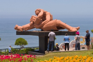 The Parque del Amor with its <i>El Beso</i> (The Kiss) sculpture in Miraflores, Lima.