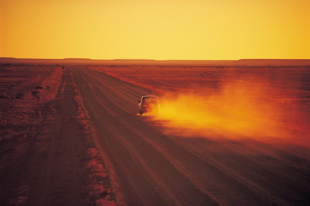 Driving at Sunset, Oodnadatta Track.
