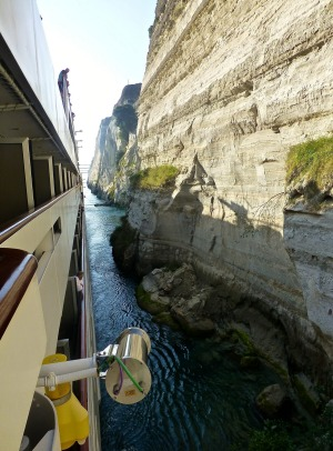 It's a tight squeeze in the Corinth canal