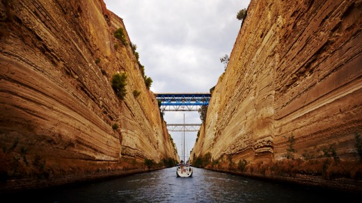 Passing through the Corinth Canal, Greece.