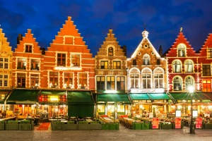 Night image of north side of Market Square, with enchanting street cafes, meeting place of the Bruge.