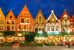 Flemish houses in Bruges at night.