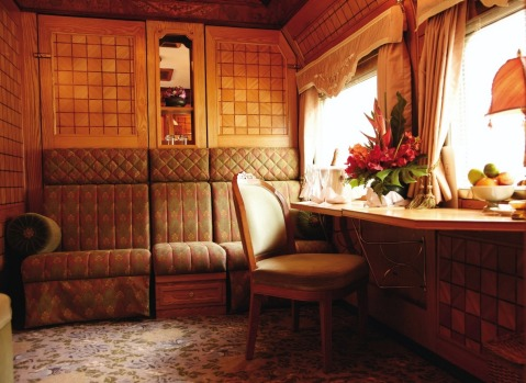 The Presidential Suite on board the Eastern & Orient Express.