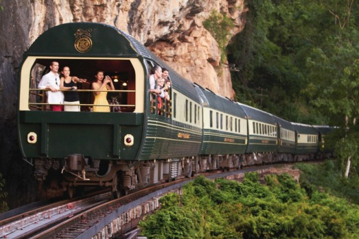 Enjoying the scenery from the Eastern & Orient Express.
