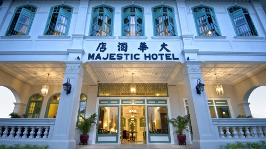 The entrance to the Majestic Hotel, Malacca, Malaysia.