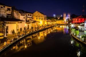 The Malacca River at night.