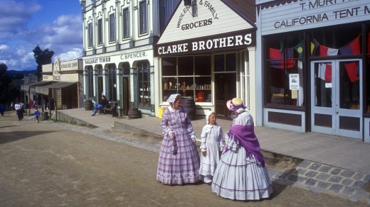 Characters in costume at Sovereign Hill.